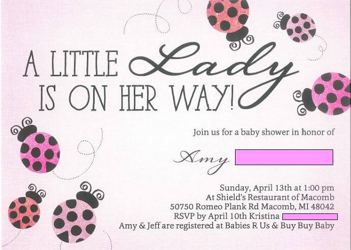 Make It Monday; A Little Lady is On Her Way Series Front of Invitation
