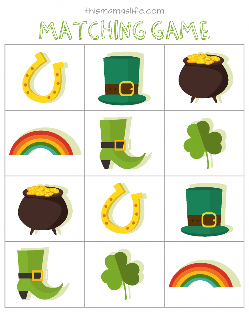 St Patricks Day-Kids Activity Set-3-matching