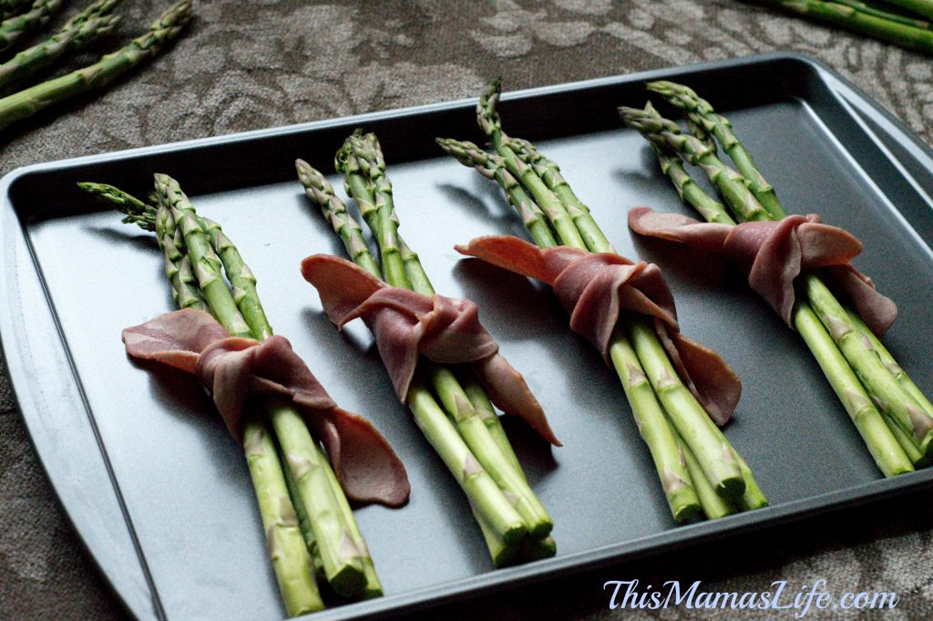 Just place your Bacon and Asparagus Bundles on a Cookie sheet, and pop it in the oven! Delicious!