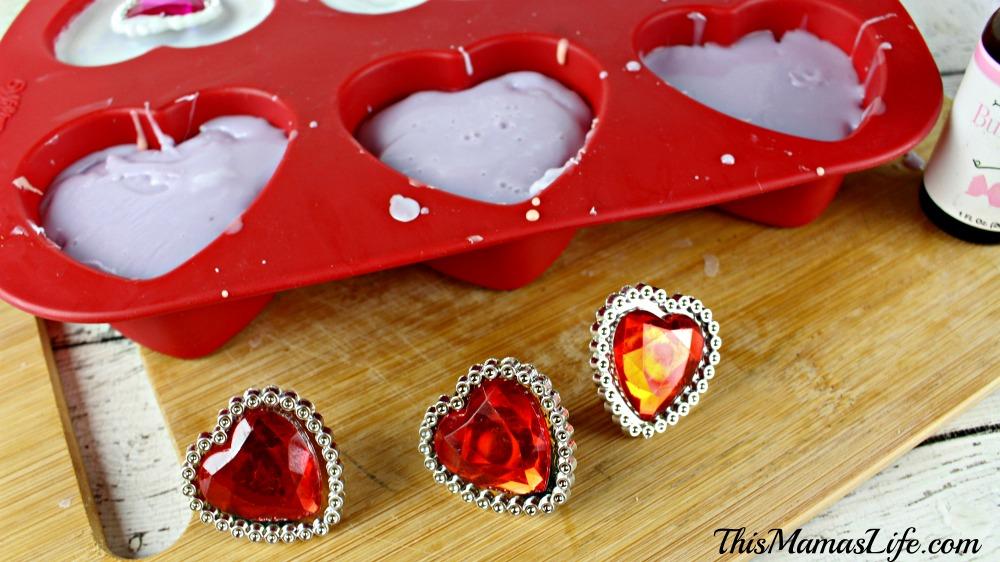 "DIY ""Bling"" Soap Bars soap mold adding gems"