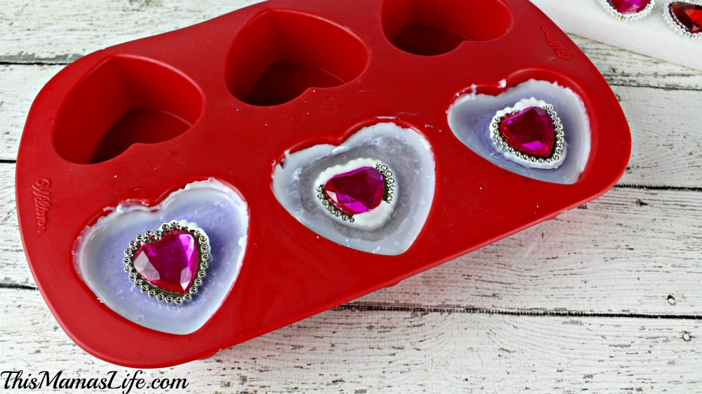 """DIY """"Bling"""" Soap Bars soap mold with gems added"""