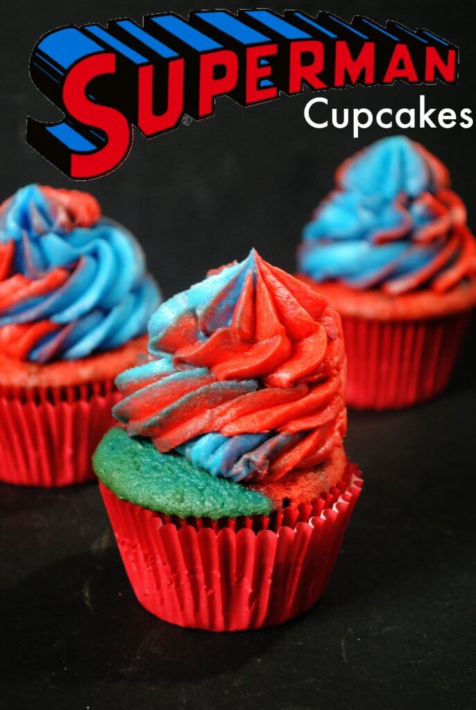 Red and Blue Cupcakes with multi-colored batter