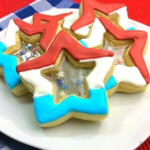 Stained Glass shaped star cookies for 4th of July