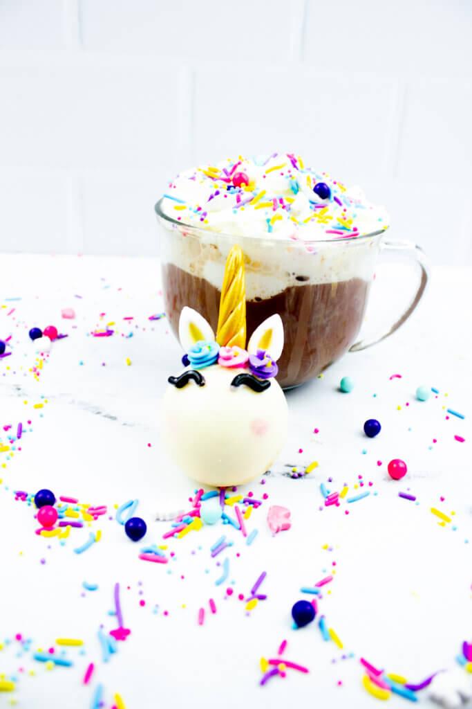 White Chocolate Unicorn Hot Chocolate Bomb